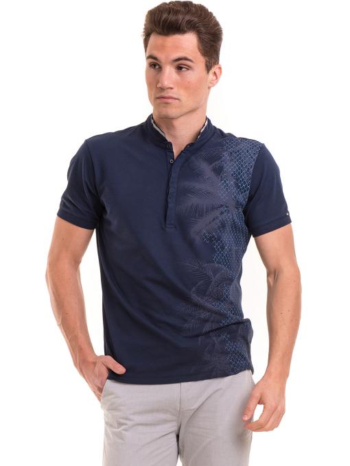 Мъжка блуза с щампа XINT 112 - тъмно синя