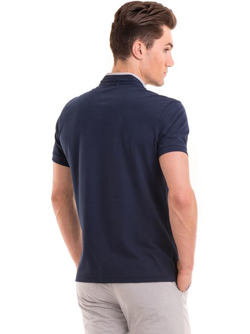 Мъжка блуза с щампа XINT 112 - тъмно синя B