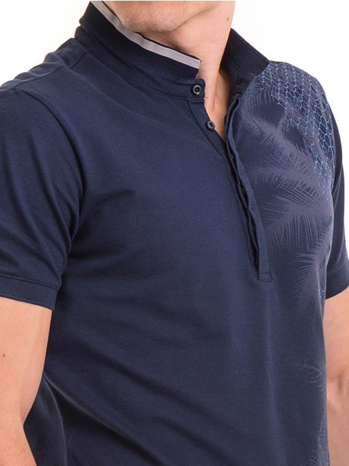 Мъжка блуза с щампа XINT 112 - тъмно синя D