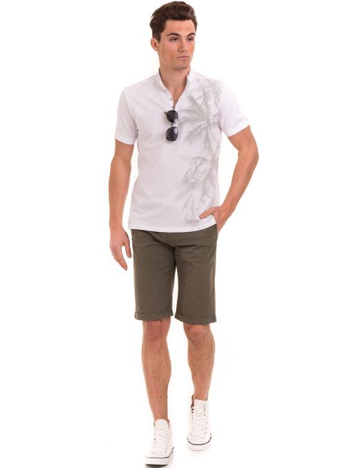 Мъжка блуза с щампа  XINT 112 - бяла C
