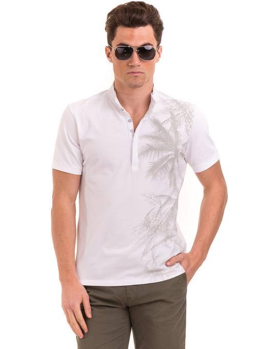 Мъжка блуза с щампа  XINT 112 - бяла