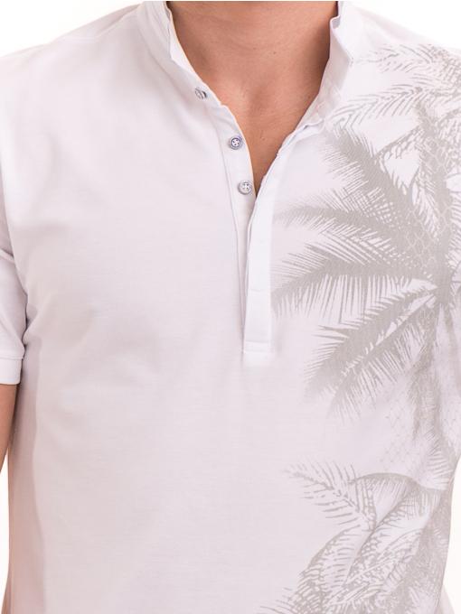 Мъжка блуза с щампа  XINT 112 - бяла D