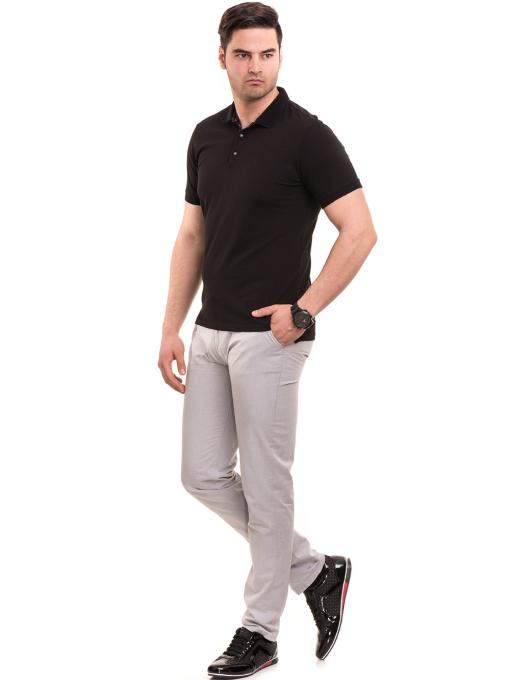 Мъжка блуза с къс ръкав и яка XINT 120 - черна C