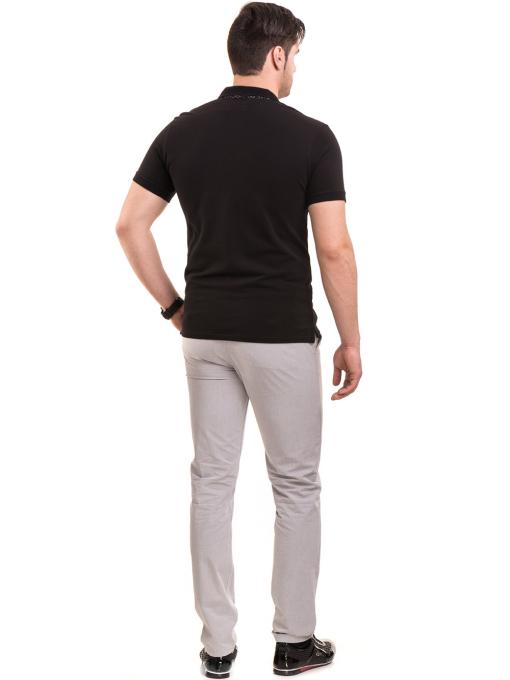 Мъжка блуза с къс ръкав и яка XINT 120 - черна E
