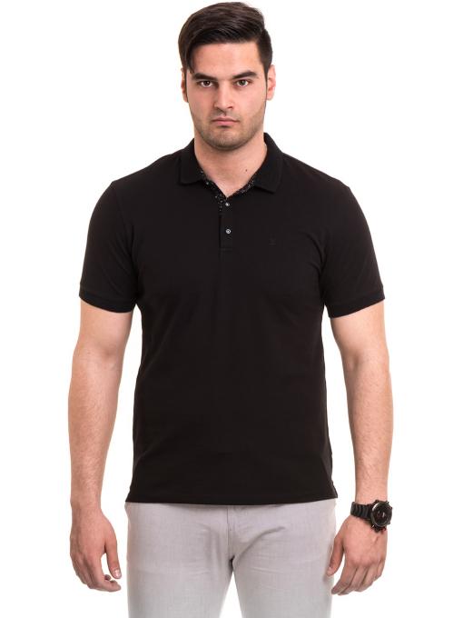 Мъжка блуза с къс ръкав и яка XINT 120 - черна