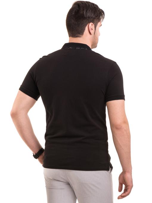 Мъжка блуза с къс ръкав и яка XINT 120 - черна B