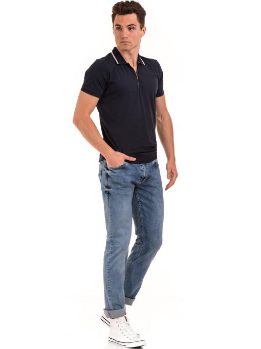 Мъжка блуза с цип и яка XINT 126 - тъмно синя C