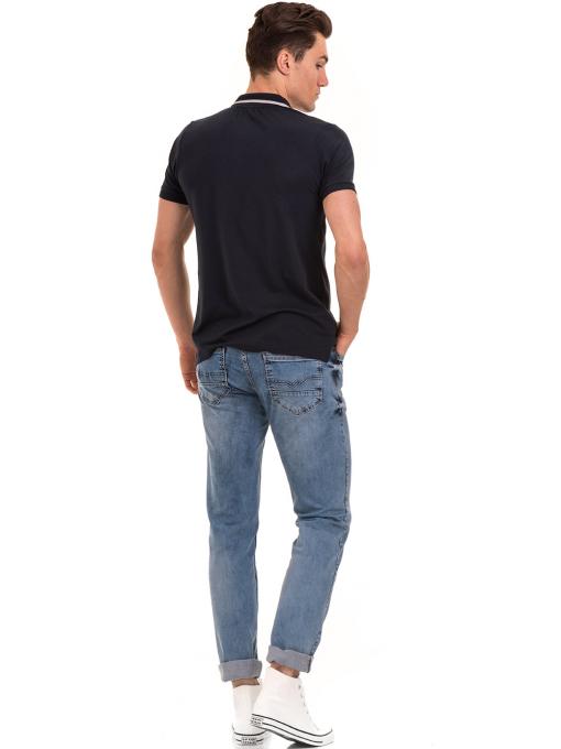 Мъжка блуза с цип и яка XINT 126 - тъмно синя E