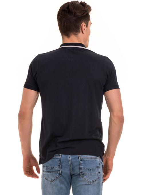 Мъжка блуза с цип и яка XINT 126 - тъмно синя B