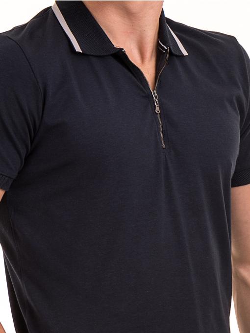 Мъжка блуза с цип и яка XINT 126 - тъмно синя D