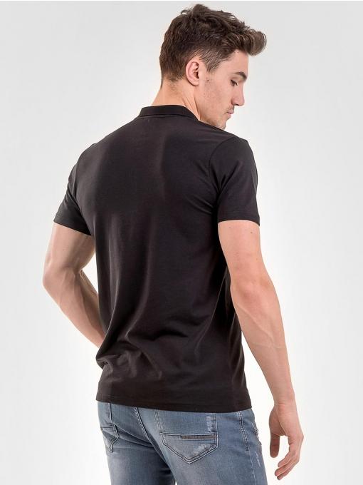 Черна мъжка блуза от фина материя с яка 501179 INDIGO Fashion