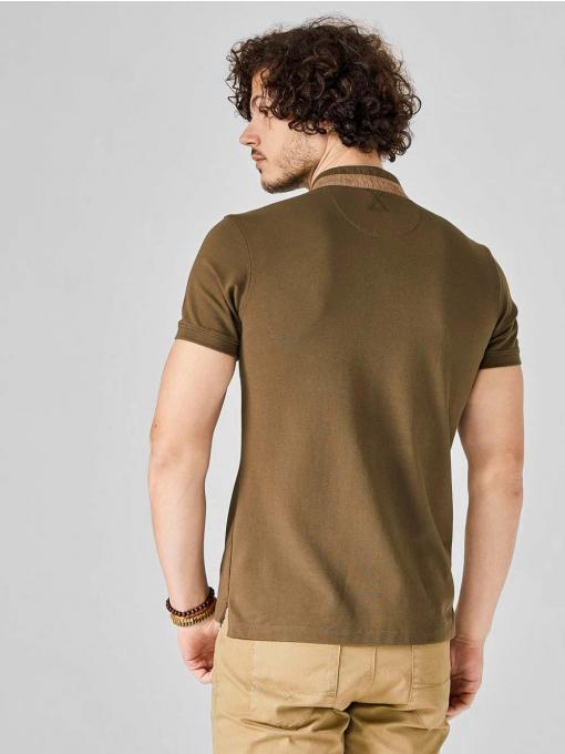 """Мъжка блуза със """"столче"""" яка - цвят каки 501191 INDIGO Fasion"""