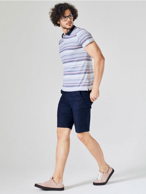 Мъжка памучна блуза с къс ръкав на райе - светло сива 501239 INDIGO Fashion