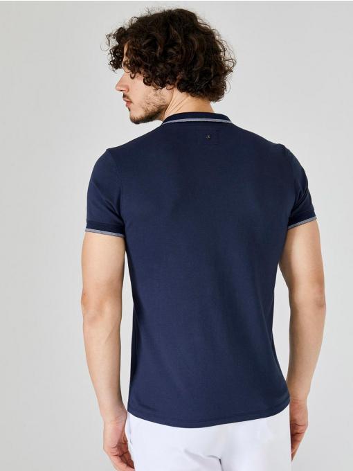 Мъжка тъмносиня блуза с яка и щампа 501293 INDIGO Fashion