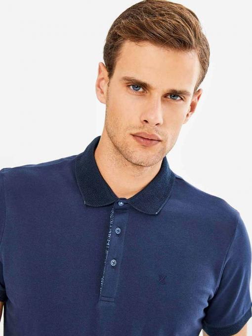 Мъжка памучна блуза с къс ръкав - тъмносиня 501365 INDIGO Fashion