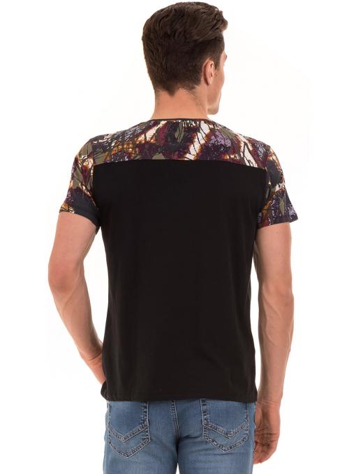 Мъжка блуза с абстрактна шарка XINT 755 - черна B