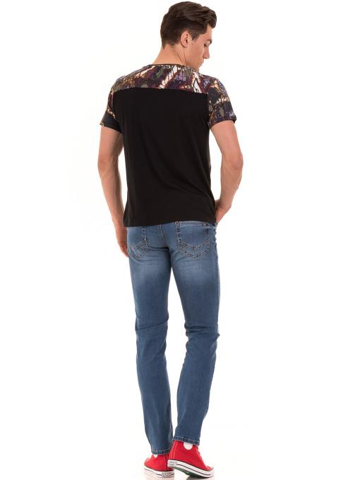 Мъжка блуза с абстрактна шарка XINT 755 - черна E