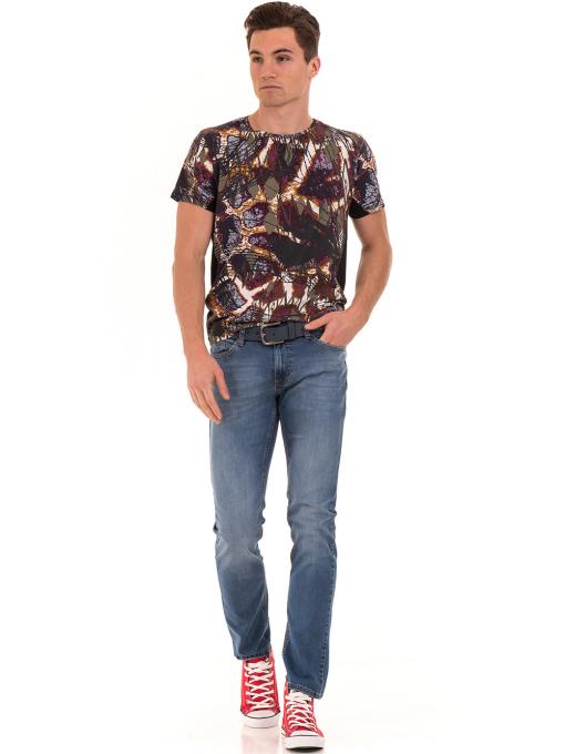 Мъжка блуза с абстрактна шарка XINT 755 - черна C