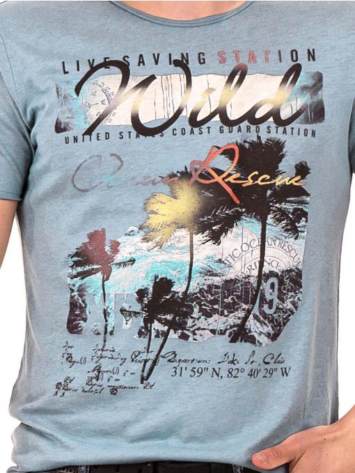Мъжка светлосиня тениска с щампа 768 INDIGO Fashion