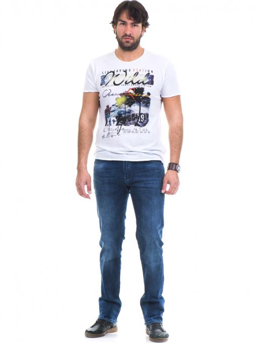 Мъжка тениска с обло деколте и щампа XINT 768 - бяла C