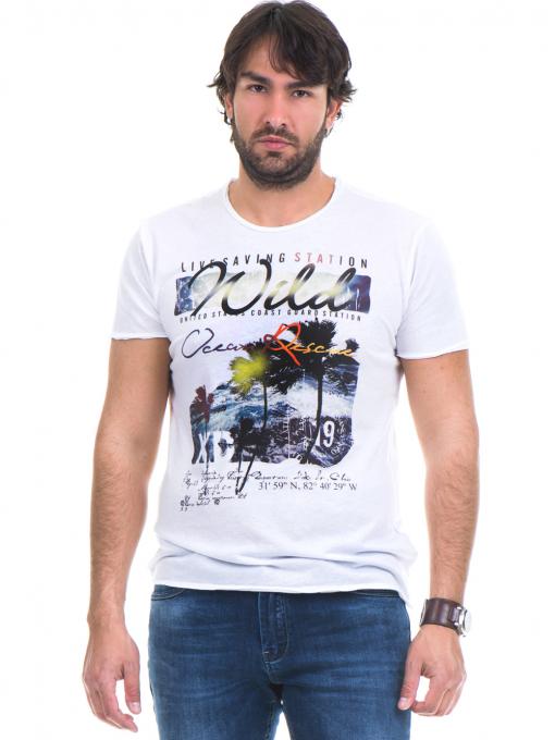 Мъжка тениска с обло деколте и щампа XINT 768 - бяла