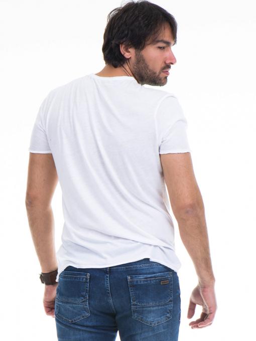 Мъжка тениска с обло деколте и щампа XINT 768 - бяла B