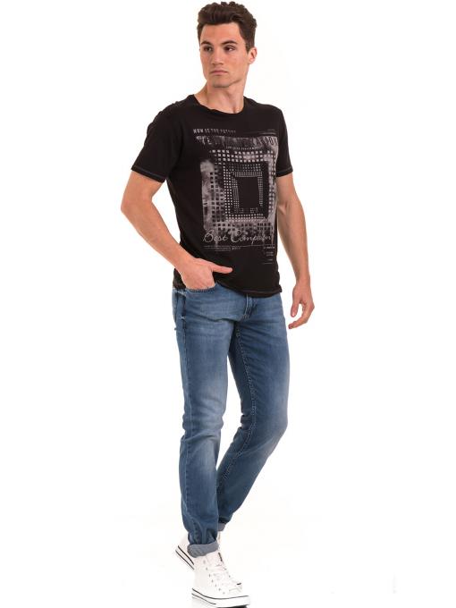Мъжка тениска свободен модел XINT 775 - черна C