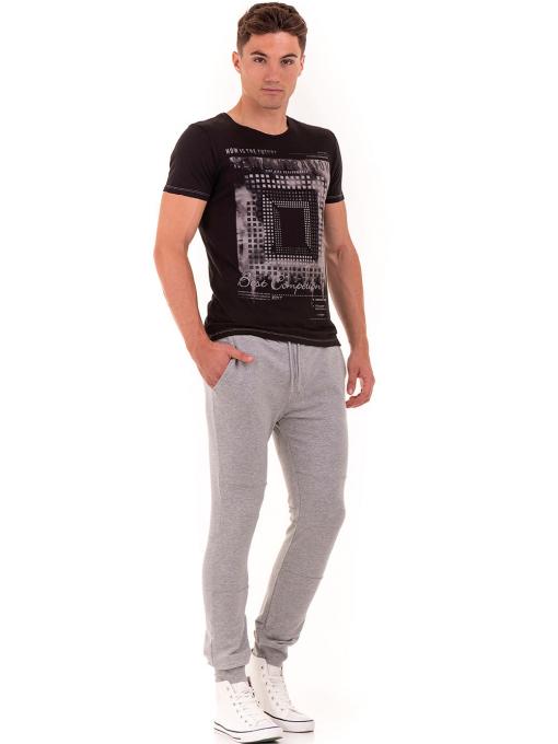 Мъжка тениска свободен модел XINT 775 - черна C1