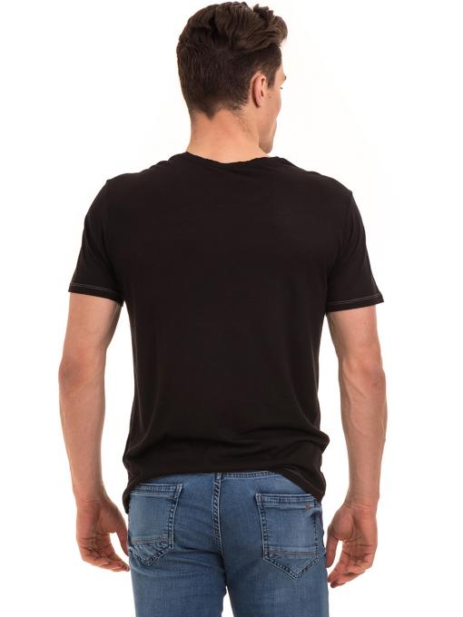 Мъжка тениска свободен модел XINT 775 - черна B