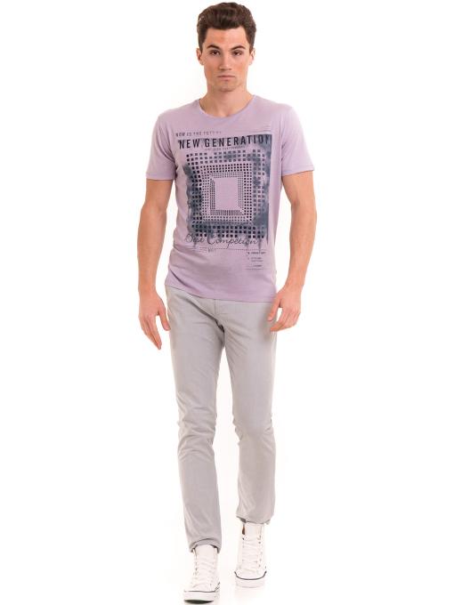 Мъжка тениска свободен модел XINT 775 - лилава C