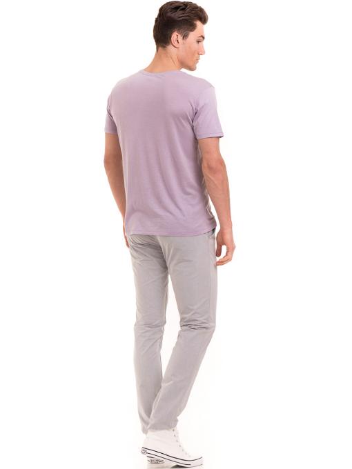 Мъжка тениска свободен модел XINT 775 - лилава E