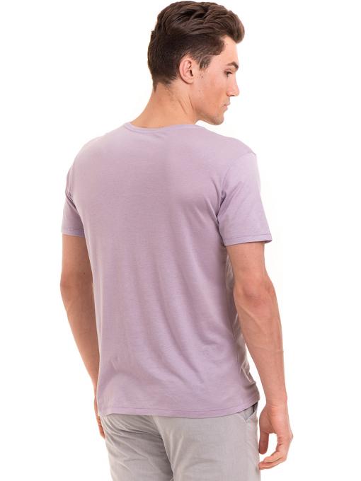 Мъжка тениска свободен модел XINT 775 - лилава B