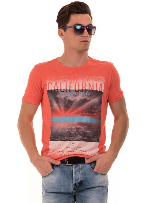 Мъжка тениска с щампа и надпис XINT 776 - цвят корал