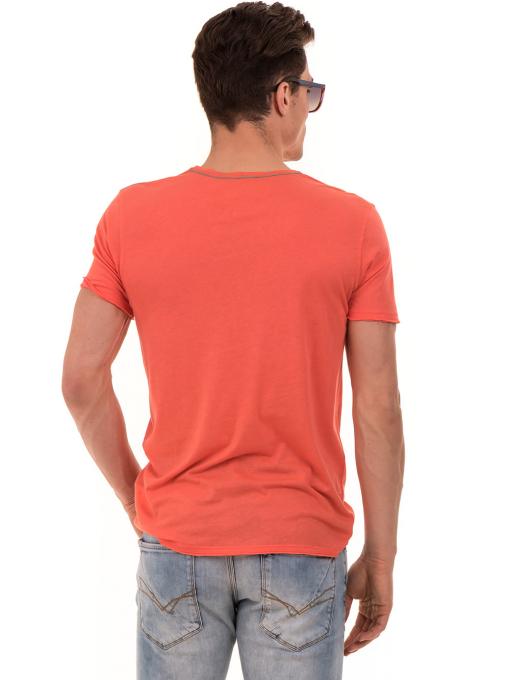 Мъжка тениска с щампа и надпис XINT 776 - цвят корал B