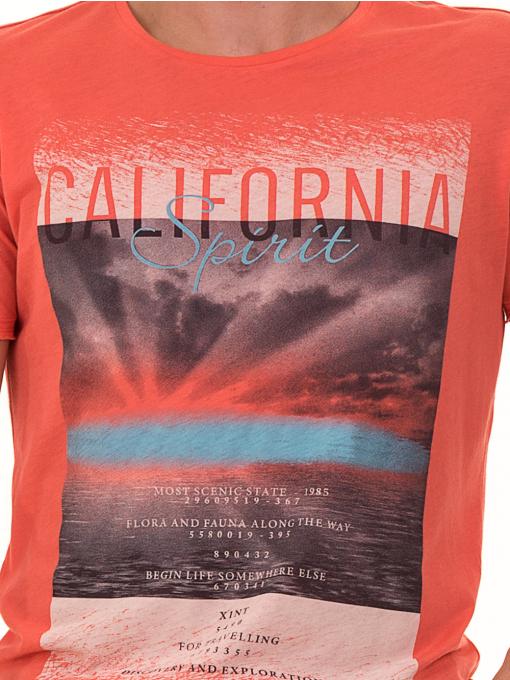 Мъжка тениска с щампа и надпис XINT 776 - цвят корал D
