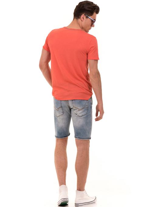 Мъжка тениска с щампа и надпис XINT 776 - цвят корал E