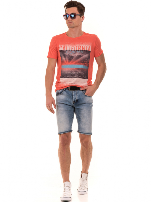 Мъжка тениска с щампа и надпис XINT 776 - цвят корал C
