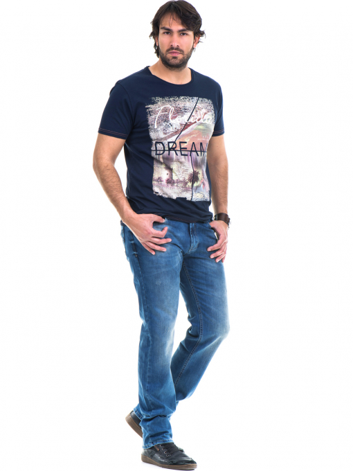 Мъжка памучна тениска с къс ръкав XINT 779 - тъмно синя C