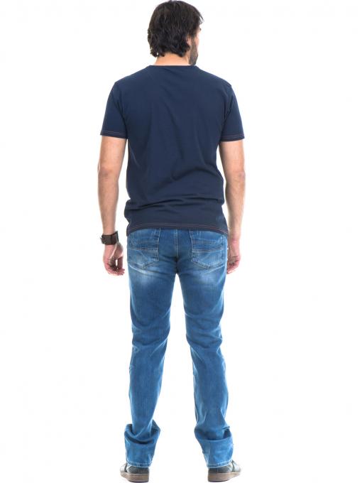 Мъжка памучна тениска с къс ръкав XINT 779 - тъмно синя E