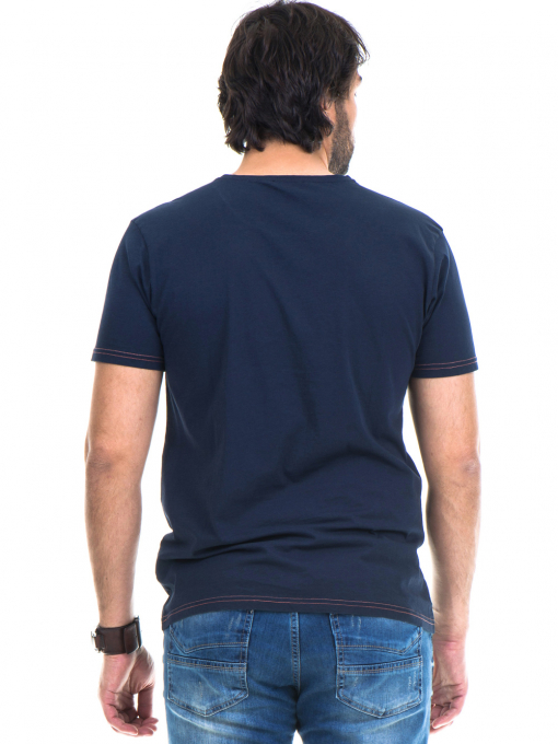 Мъжка памучна тениска с къс ръкав XINT 779 - тъмно синя B
