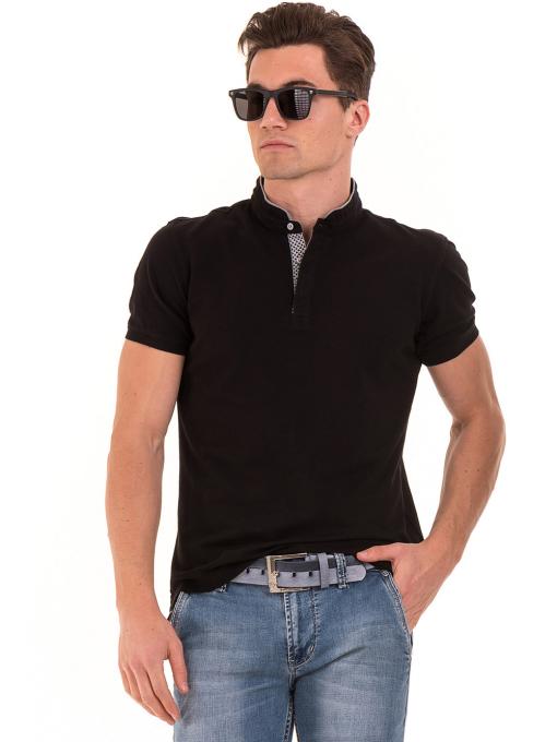 """Мъжка блуза с яка тип """"столче"""" XINT 886 - черна"""