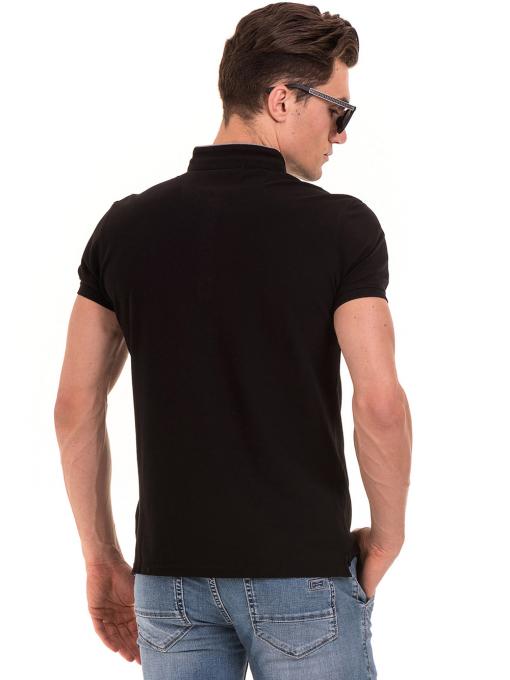 """Мъжка блуза с яка тип """"столче"""" XINT 886 - черна B"""