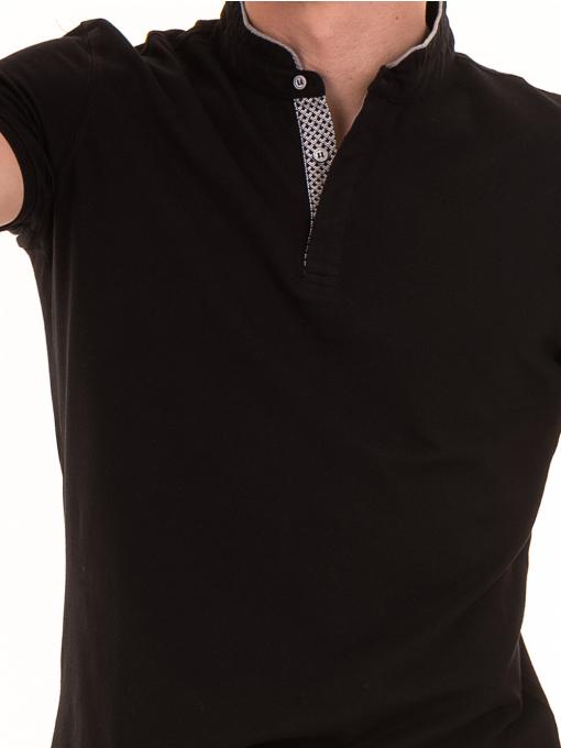 """Мъжка блуза с яка тип """"столче"""" XINT 886 - черна D"""