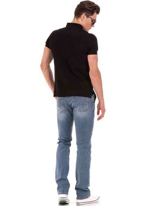 """Мъжка блуза с яка тип """"столче"""" XINT 886 - черна E"""