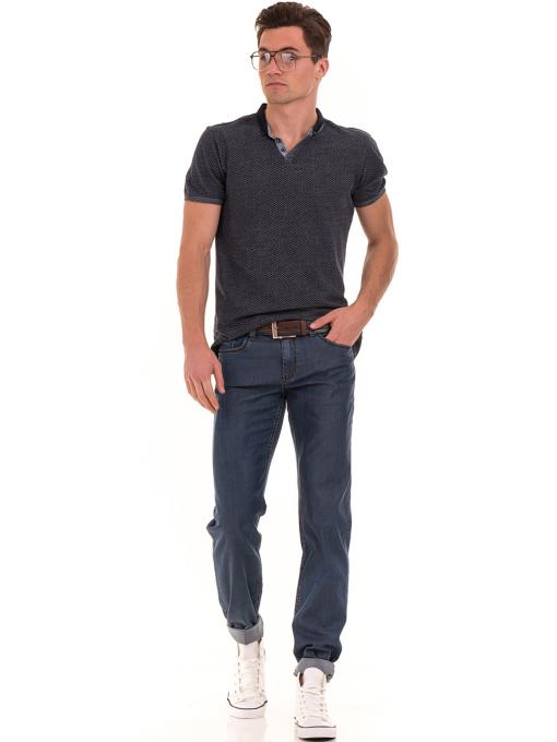 Мъжка блуза с къс ръкав и яка XINT 904 - тъмно синя C