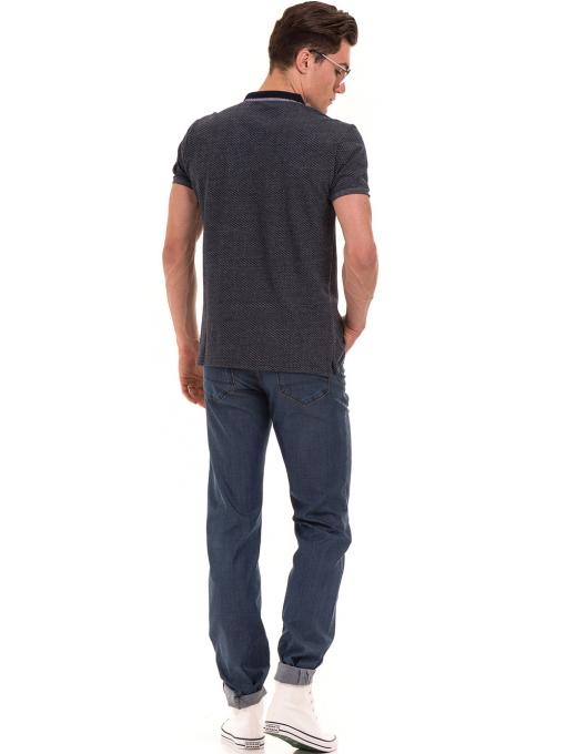 Мъжка блуза с къс ръкав и яка XINT 904 - тъмно синя E