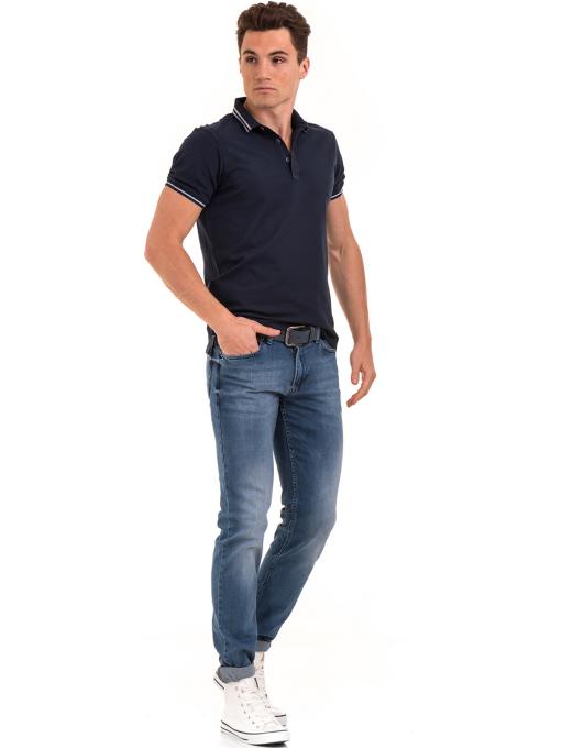 Мъжка блуза с яка XINT 906 - тъмно синя C