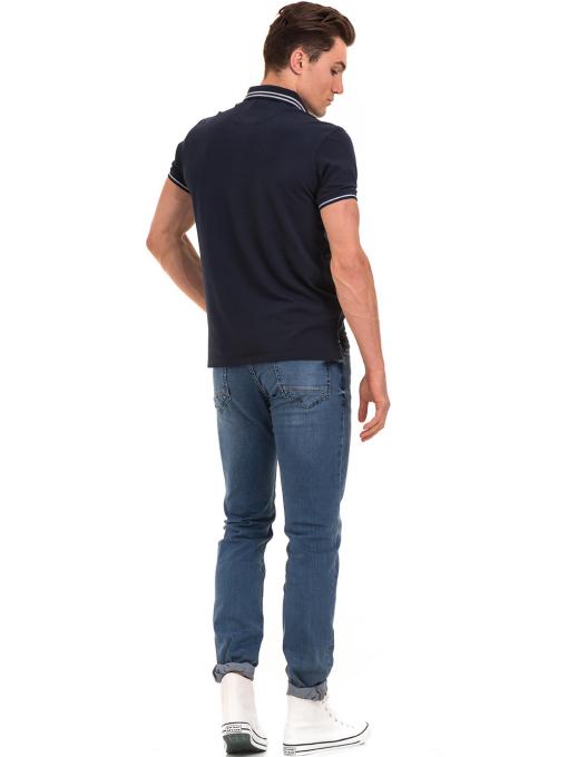 Мъжка блуза с яка XINT 906 - тъмно синя E