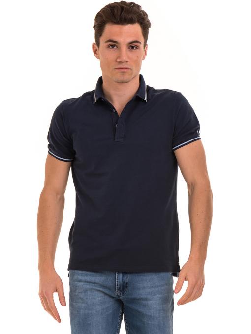 Мъжка блуза с яка XINT 906 - тъмно синя