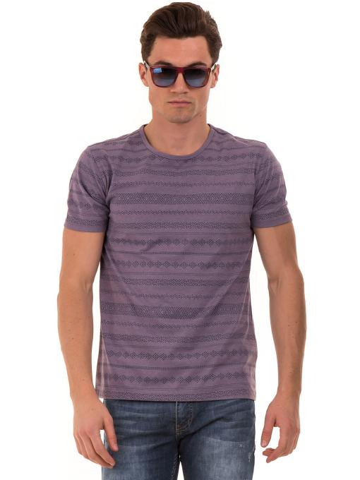 Мъжка блуза с фигурални мотиви XINT 940 - лилава